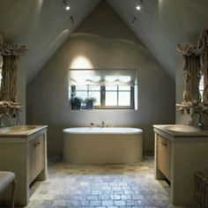 attic bath with sheer roman