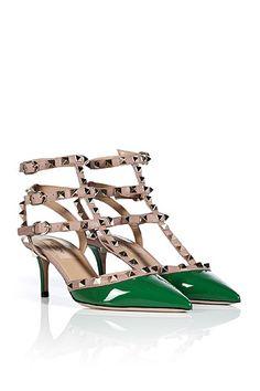 sandalias tacon Valentino Zapatos.org tachas verde