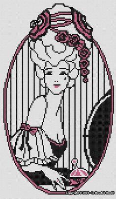 0 point de croix femme avec perruque - cross stitch lady with a wig