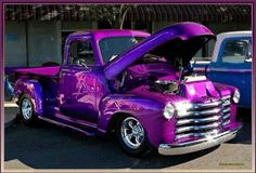 1953 Purple metallic Chevy Pickup Truck that color is amaaazinggg Classic Pickup Trucks, Chevy Pickup Trucks, Chevy Pickups, Chevrolet Trucks, Gmc Trucks, Cool Trucks, Cool Cars, Lifted Chevy, Chevrolet Silverado