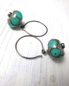 TURQUOISE LAMP: Murano Glass Lampwork Earrings by SusanHeleneDesigns