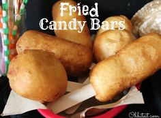 gives me the idea to use the pillsbury pie crust I love and bake them instead. Like little mini hand held pies with my fave candy bar inside. Can't beat that!~Fried Candy Bars!