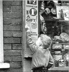 The chewing gum machine outside shops that delivered two packets for every fourth penny inserted.