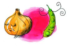 Combinatieteelt: ui en de boon gaan niet samen! #combinatieteelt #moestuinieren #tekeningen #illustraties #ECOstyle
