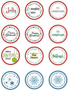 "FREE download of printable Christmas circles that you punch out with a 2"" circle punch!"