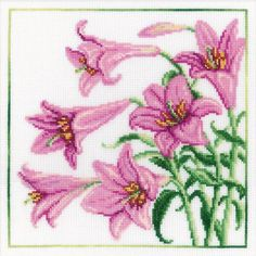 lily flower cross stitch patterns | Cross Stitch Kit featuring flowers. This Cross Stitch Kit comes ...