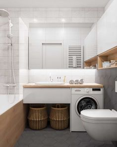 40 Modern Bathroom Vanities That Overflow With Style is part of Laundry in bathroom - No contemporary bathroom design is complete without a stylish modern vanity unit Whether you're looking for single or double vanities, we have 40 of the best Modern Small Apartment Design, Bathroom Design Small, Bathroom Layout, Bathroom Interior Design, Small Apartments, Modern Bathroom, Bathroom Ideas, Small Spaces, Bathroom Grey