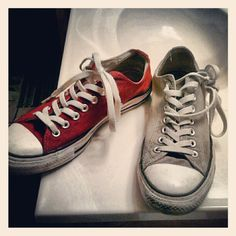 Painted old converse red, with acrylic
