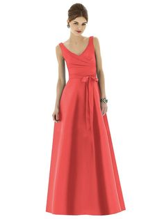 This luxurious Peau De Soie Alfred Sung Style D625 Bridesmaid Dress is classically styled to perfection. Full-length, with a surplice wrap bodice, the V-neckline and wide straps make this gown as flattering as it is easy to wear. The front is lightly draped with a matching self tie sash and a full A-line circle skirt. The scooped back fastens with an invisible zipper.