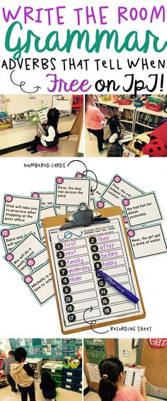 A fabulous printable write the room activity for teaching elementary school kids how to identify adverbs that tell when. Kids have fun learning and moving around the classroom. Great for lessons with ELL and ESL students! Can also be used in workstations, in small groups, or as a scoot game. So easy to prep for teachers! Awesome for first grade or second grade!