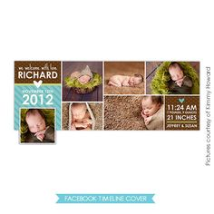 INSTANT DOWNLOAD  - Facebook Timeline Cover - Photoshop Template - Birth Announcement - E449