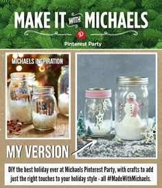 DIY Mason Jar Snowglobes Michaels Holiday Pinterest Party