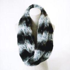 Black Rivet Faux-Fur Infinity Neck Warmer