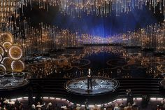 Seth MacFarlane hosts the 2013 Oscars, with a striking set design incorporating 100,000 Swarovski crystals at the Dolby Theatre