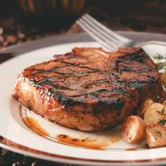 Coffee-Molasses Marinated Pork Chops Recipe -A friend gave me this fabulous pork chop recipe, and its seriously the best pork Ive ever tasted. —Pam Moormann, Beverly, Massachusetts Pork Chop Recipes, Grilling Recipes, Meat Recipes, Cooking Recipes, Recipies, Grilling Tips, Barbecue Recipes, Sauce Recipes, Dinner Recipes