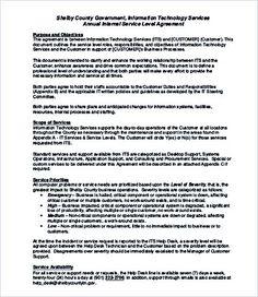 Internal Service Level Agreement Template , Service Level Agreement  Template And Points To Understand , Service
