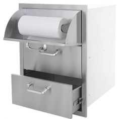 BBQGuys.com Kingston Series 20-Inch Stainless Steel Double Access Drawer With Paper Towel Dispenser BBQGuys.com Kingston Series Double Access Drawer With Paper Towel Dispenser - Angled View