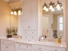 Large wall mirror enhanced by installing extra shelving and molding, from HGTV Remodel and designed by Gail Drury.
