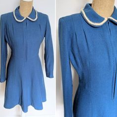 1950's blue wool angora trim dress image 6 1950s Outfits, Dress Images, Blue Wool, Shades Of Blue, Ready To Wear, Braids, High Neck Dress, Sleeves, Clothing