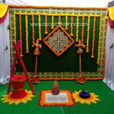Decor by Krishna AP/ Telangana/ Karnataka/ Tamilnadu/ USA/Australia Naming Ceremony Decoration, Marriage Decoration, Desi Wedding Decor, Simple Wedding Decorations, Mehndi Decor, Mehendi, Housewarming Decorations, Eco Friendly, Culture
