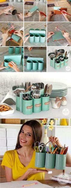 How clever!   http://www.madamecriativa.com.br/45/post/2013/08/porta-talheres-com-ala-feito-com-latas-madeira-e-couro.html
