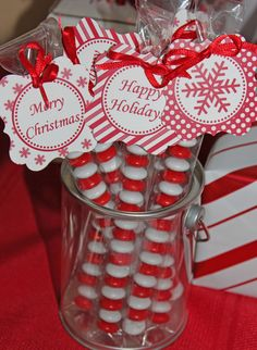 """@Rachel Leigh - lets make these with little tags that read """"Naughty or Nice"""" on Saturday for Saturday?  Where can we get single color M & Ms?  Peppermint Christmas Party Favors #peppermint #partyfavors"""