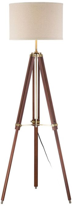 Cherry Finish Wood Surveyor Tripod Floor Lamp -