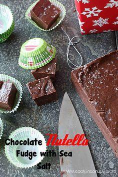 Best Christmas treat! Chocolate Nutella Fudge with Sea Salt   cookincanuck.com #fudge #Nutella