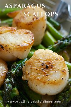 Asparagus Scallops - Quick, easy , elegant. Fresh springtime asparagus, with sweet scallops, in a buttery wine shallot sauce.