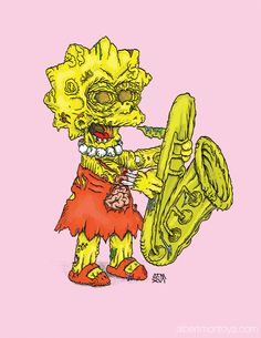 """""""Zombie Lisa"""" Print on high quality glossy paper - Signed & Dated, x Black Girl Art, Art Girl, Lisa Simpson, Simpsons Treehouse Of Horror, Zombie Cartoon, The Simpsons, Art Sketches, Anime, Drawings"""