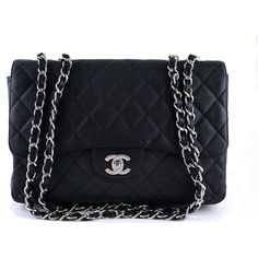 Pre-Owned Chanel Black Caviar Jumbo 2.55 Classic Flap Bag (€3.665) ❤ liked on Polyvore featuring bags, handbags, purses, chanel, black, black bags, quilted hand bags, chain strap handbag, woven handbags and chain handbags