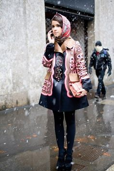 Miroslava Duma: Again, anyone who can rock petal pink and black in the middle of the snow season deserves a standing ovation. Also, headscarf madness continues. How does she do it?!
