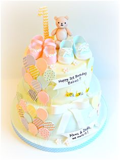Baby Boys and Girls One Year Old Birthday Cake with Baby Shoes and Balloons| Chérie Kelly