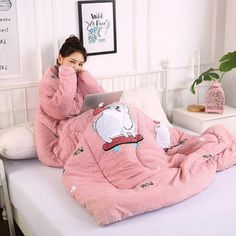 Winter Lazy Quilt with Sleeves Home Bedding Comforter Printed Edredom Keep Warm