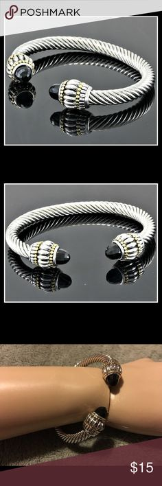 """Black Spinel Bangle Cable Bracelet One White & yellow Gold layered (plated) 3.25ctw of black Spinel, Bangle Cable Bracelet. Tarnish Free. New. Never been worn. Fits a 6-7.5"""" wrist. The first two photos are stock photos, the rest are mine😊 Jewelry Bracelets"""