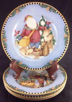 Debbie Mumm Sakura Woodland Santa Holiday Salad Dessert Plate Christmas 4  | eBay