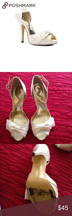 Nina emmylou platform satin pump Really cute sandals work once for a wedding.one of the most comfortable shoes I have ever worn and I wore them for 11 hours! No sign of wear only the sole shows....price is negotiable and open to trades Nin Shoes Sandals