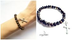 FREE CHRISTMAS PACKAGING - Amber beads bracelet with cross charm by CozyAmber on Etsy