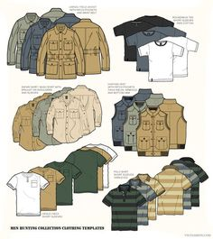 Men Hunting Clothing Templates by VecFashion on Creative Mar.-Men Hunting Clothing Templates by VecFashion on Creative Market Men Hunting Clothing Templates by VecFashion on Creative Market - Safari Vest, Safari Shirt, Clothing Templates, Fashion Templates, Clothing Patterns, Sewing Patterns, Flat Drawings, Flat Sketches, Technical Drawings