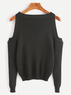 Shop Open Shoulder Rib Knit Sweater online. SheIn offers Open Shoulder Rib Knit Sweater & more to fit your fashionable needs.