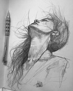 Pencil Art Drawings, Cool Art Drawings, Art Drawings Sketches, Drawing Art, Portrait Sketches, Portrait Art, Figure Sketching, Arte Sketchbook, Sketch Painting