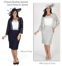 Navy and ivory, light grey and ivory lace dress with matching short jacket two piece dress suits for an autumn or winter wedding