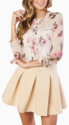 Florals & nude skirt