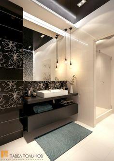 Интерьер ванной комнаты - трехкомнатная квартира в ЖК Парадный квартал