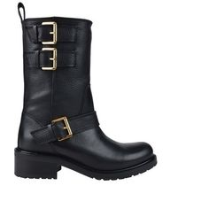 Dsquared2 Leather Biker Boot featuring polyvore, women's fashion, shoes, boots, black, leather motorcycle boots, biker boots, leather boots, buckle boots and black engineer boots
