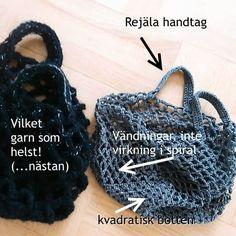 Beskrivning till en enkel, virkad nätkasse med fyrkantig botten och rejäla handtag. Knit Crochet, Crochet Hats, Handicraft, Baby Knitting, Boy Outfits, Home Crafts, Straw Bag, Free Pattern, Chevron