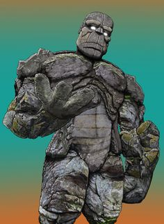 This rock giant is made out of 68 photographs of boulders, rocks and cliff sides, with a little shading drawn on top.