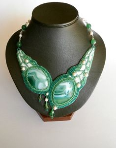 Green and White Necklace, Bead Embroidery Necklace