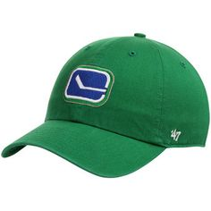 Vancouver Canucks Clean Up Adjustable Hat - Kelly Green Vancouver Canucks, Nhl, Clean Up, Green Clean, Kelly Green, Fan Gear, Baseball Hats, Stuff To Buy, Sports Teams