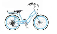 Light Blue Pedego Step-Thru Comfort Cruiser (balloon tired upgrade available in creme, brown, black, and grey) $1,995 Electric Bikes | Electric Bicycles | E-bikes | eBikes | Electric Bike Store